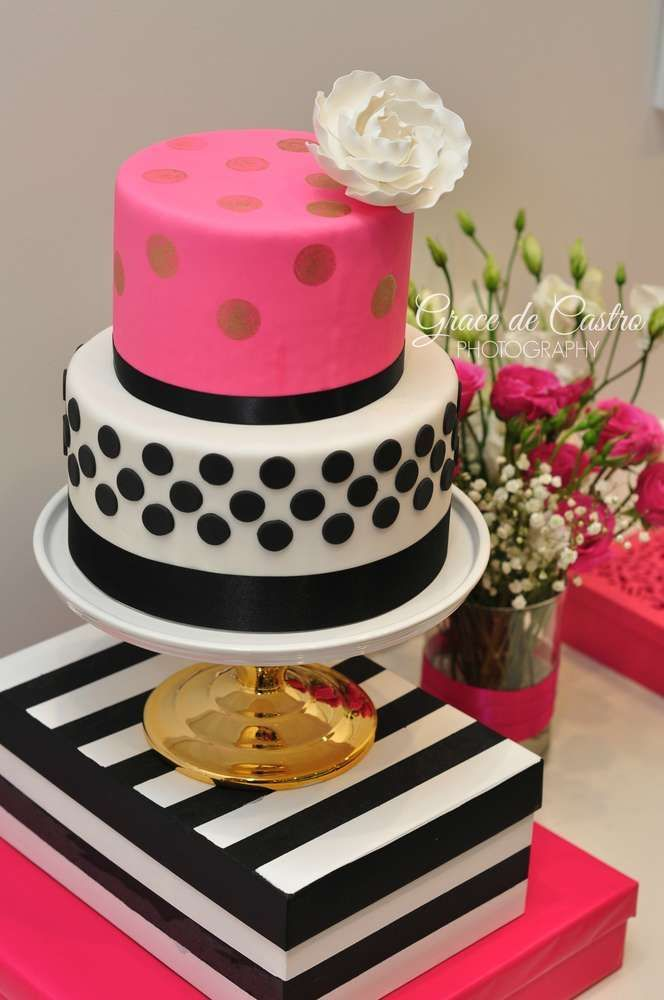 Stunning cake at a Kate Spade birthday party! See more party ideas at CatchMyParty.com!