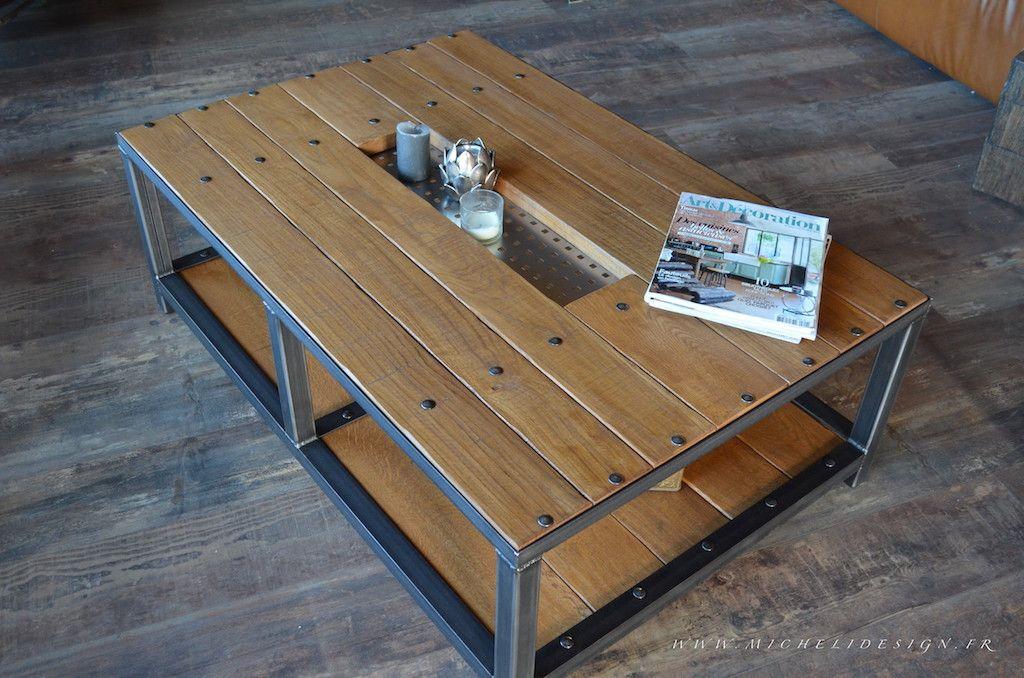 table basse de salon style atelier cr ation micheli design cr ateur fabricant de mobilier. Black Bedroom Furniture Sets. Home Design Ideas