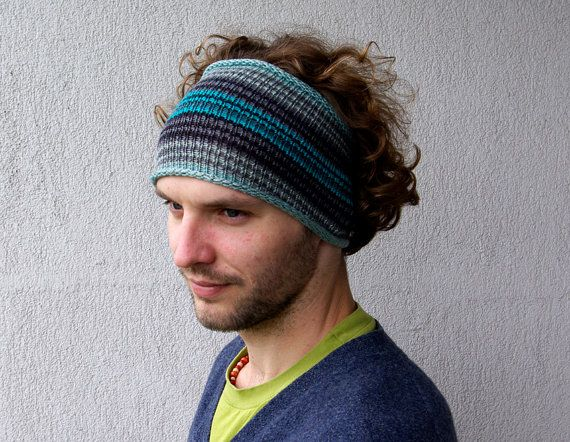 Knitted Mens Headband Guys knit hair wrap - blue turquoise ...