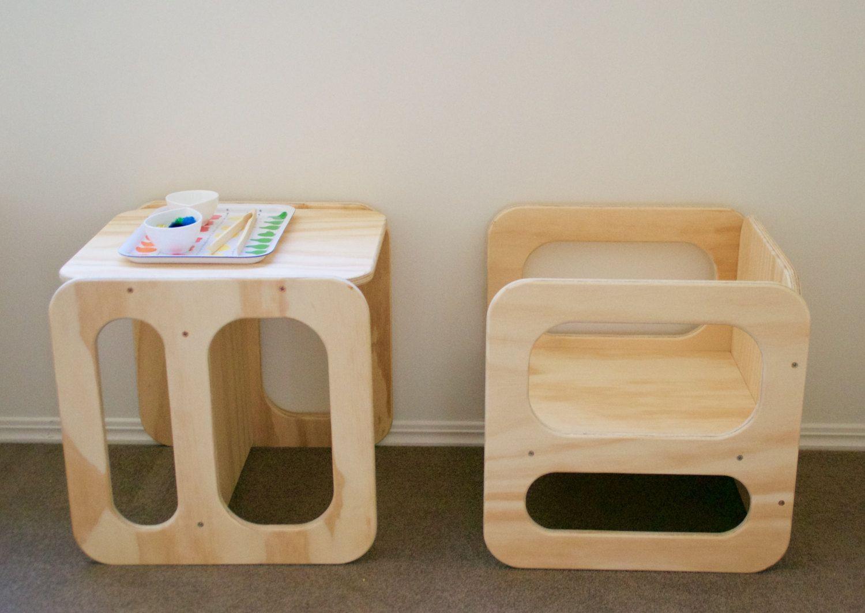 One Child S Cube Chair Natural Es Necesario Apoyar Y Cubos # Muebles Funcionales Para Ninos