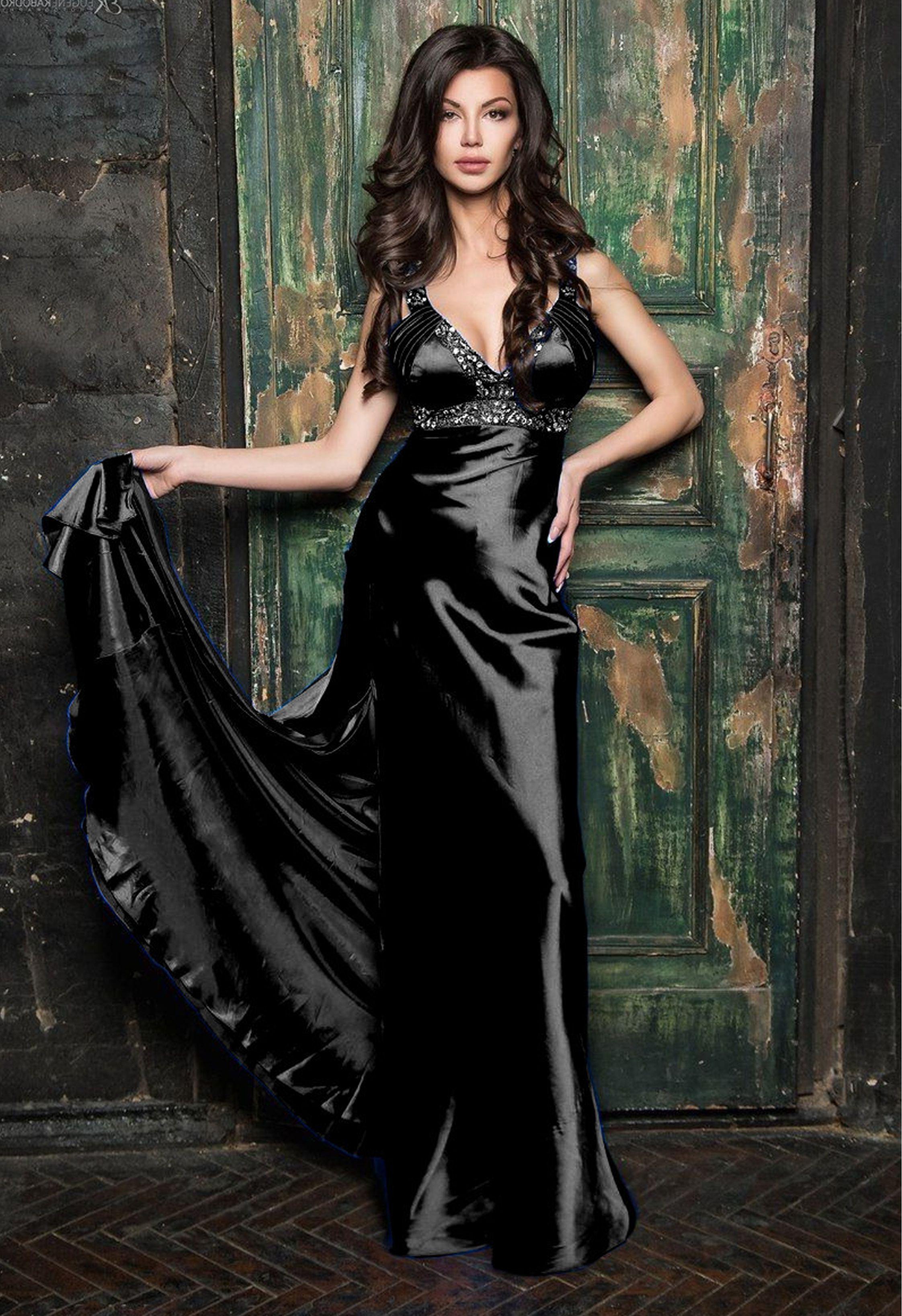 Angela Hudson Nude pinselkie bryant on silk satin | black satin dress
