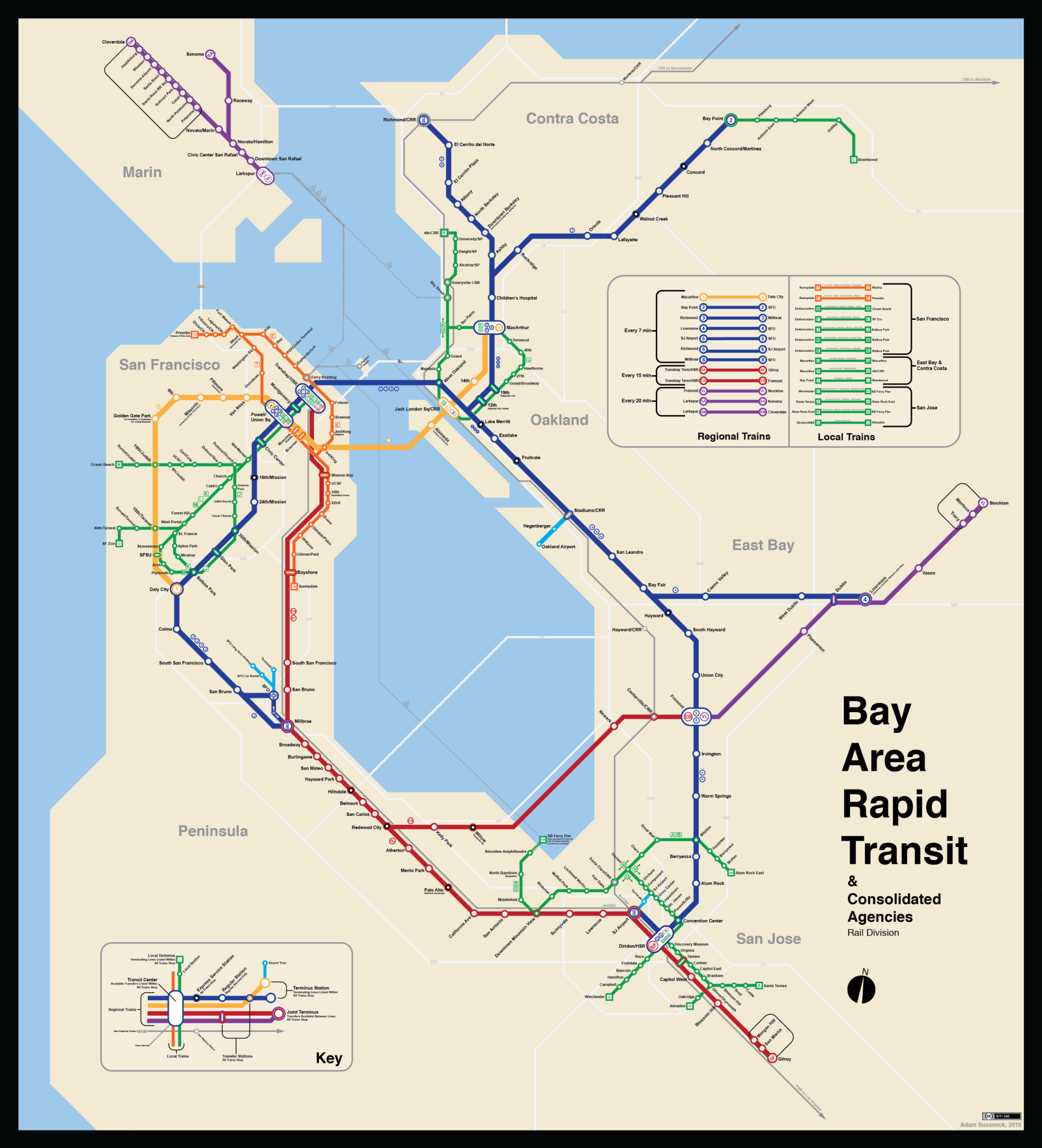 Bay Area Train Map : Unlike some operators elsewhere, no single agency in the bay area is so omnipresent that its map can effectively function as a regional rail map, at least (if not a regional.