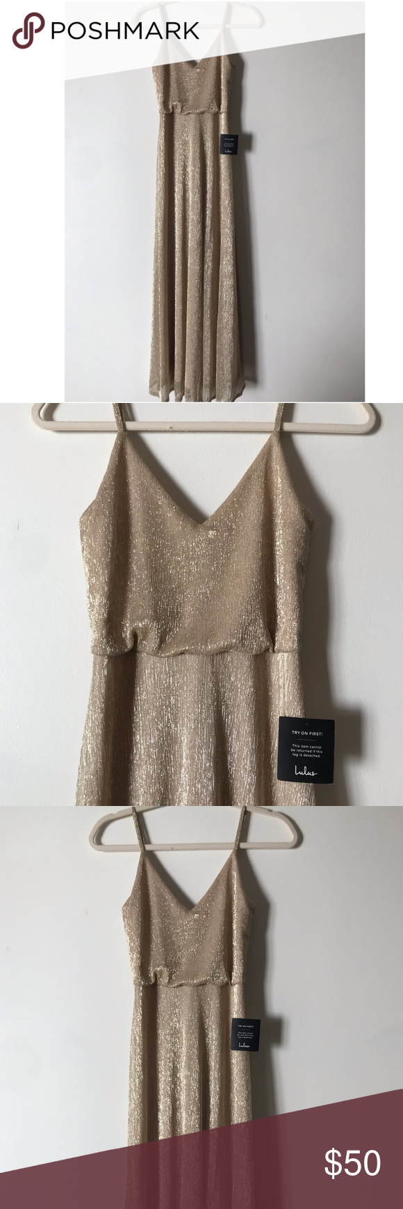 e598ecad0c FRIEND OF THE GLAM GOLD MAXI DRESS Never Been Worn! Lulus Exclusive! All the