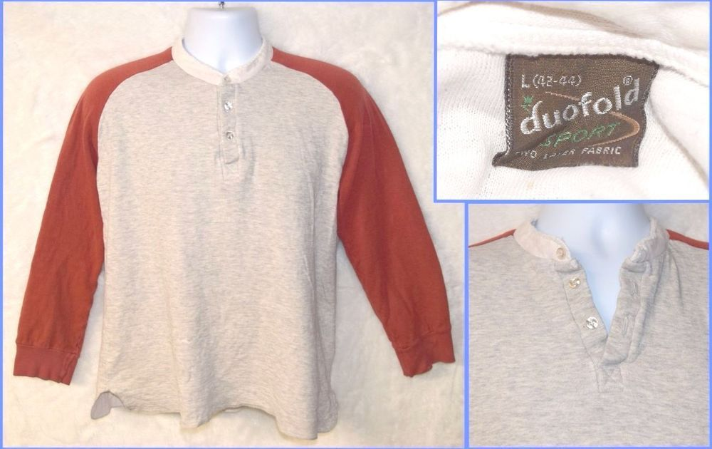 98155e17 Vintage 70s 80s Duofold Henley Wool Blend Thermal Base Layer Long John Shirt  Red #duofold