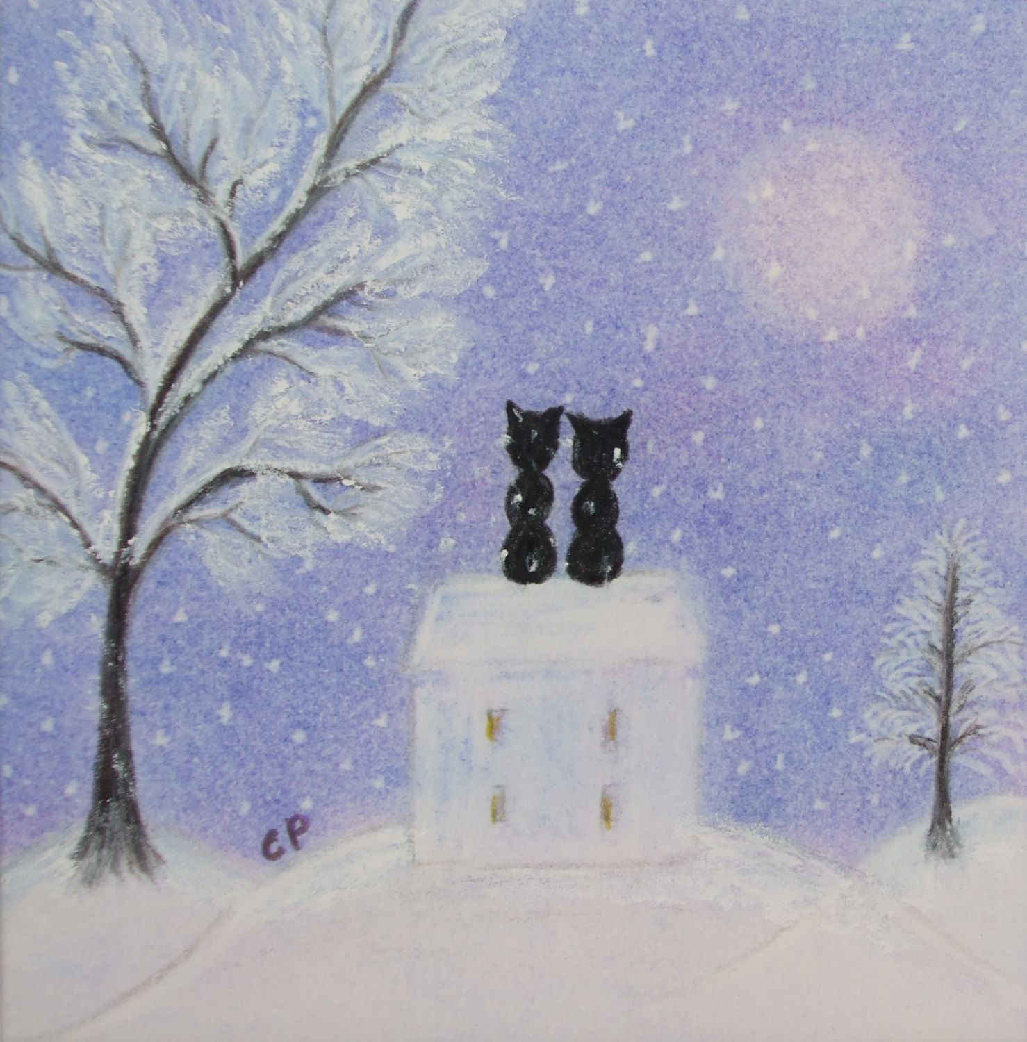 Christmas Cat Card Romantic Art Card Black Cats Moon House Etsy Cat Cards Art Christmas Gifts Romantic Art Black cat house roof stars silhouette