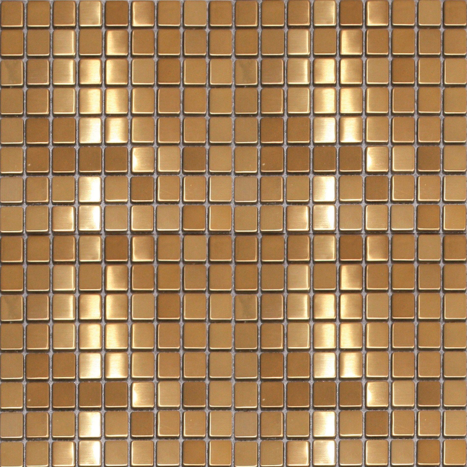 Snygg mosiak i guld! CC Höganäs Metallmosaik - Guld Metall Borstad ...