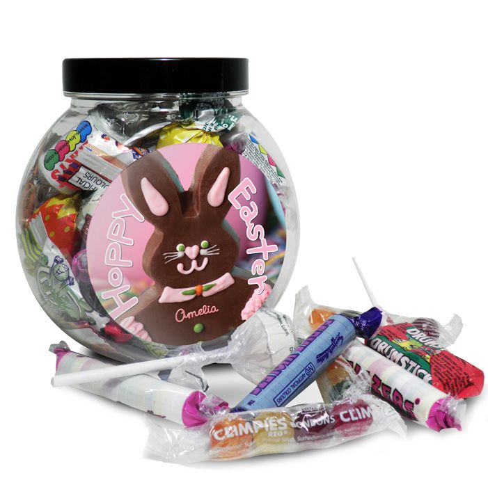 Personalised easter bunny sweet jar for a girl perfect easter personalised easter bunny sweet jar for a girl perfect easter gift or present for mum negle Choice Image