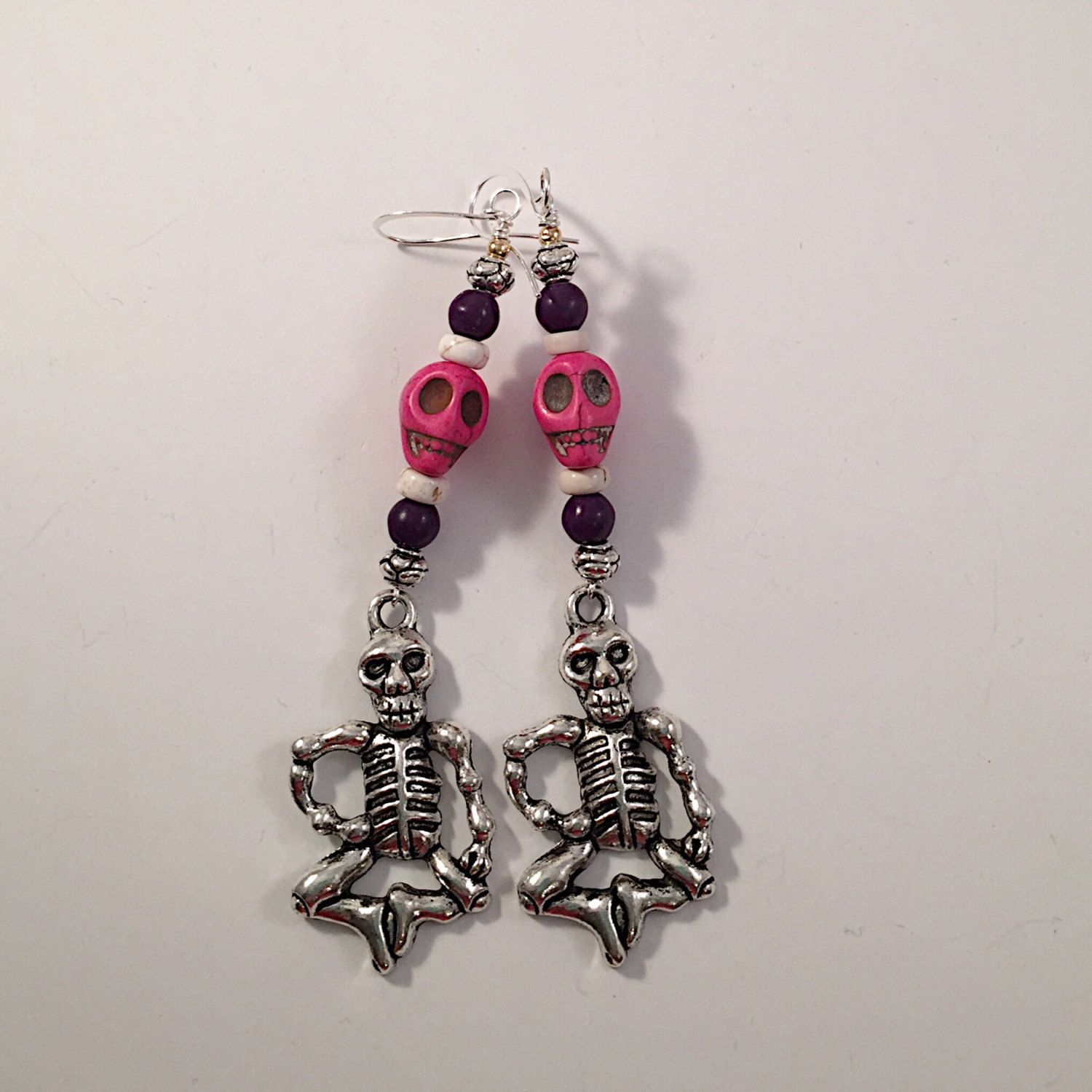 1d0f3eae4 Dias de los Muertos Beaded Earrings Howlite Magnesite Bali Silver and Silver  Plate Charm - Boho Chic - Trending Jewelry by Lilyspad58 on Etsy