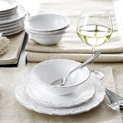 With an embossed pattern and beautiful scalloped edges these hand-painted pieces have a classic look. But also a modern practicality that makes them ... & Antique Scroll 18-Piece White Dinnerware Set | Salad plates Place ...