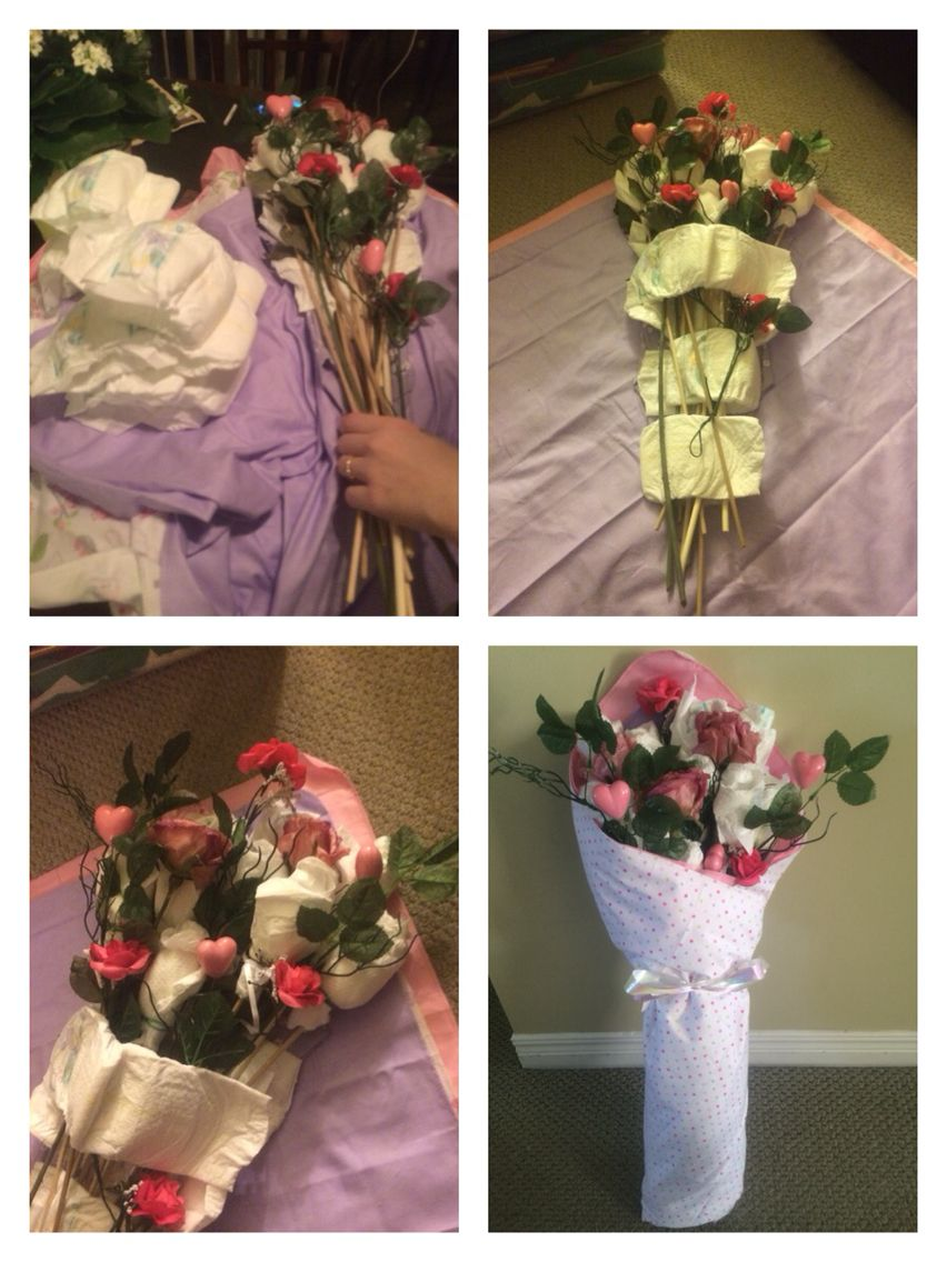 Baby bouquet using 27 newborn diapers, 4 receiving blankets, one ...