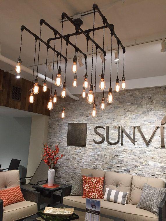 16 or 20 light square industrial chandelier by. Black Bedroom Furniture Sets. Home Design Ideas