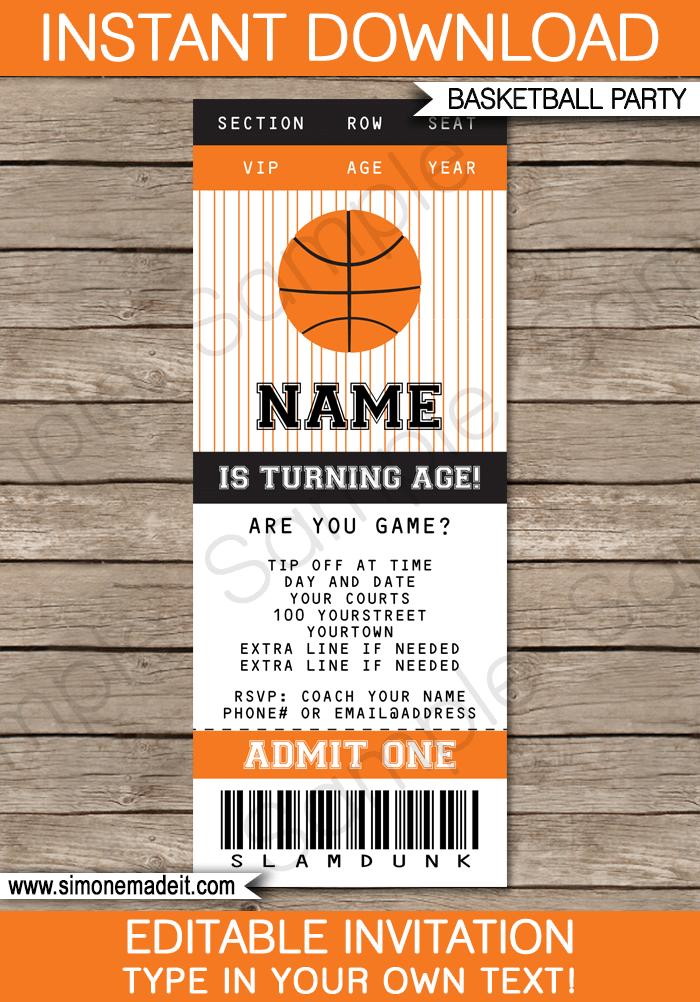 Basketball Ticket Invitation Template blackorange – Free Printable Baseball Birthday Invitations