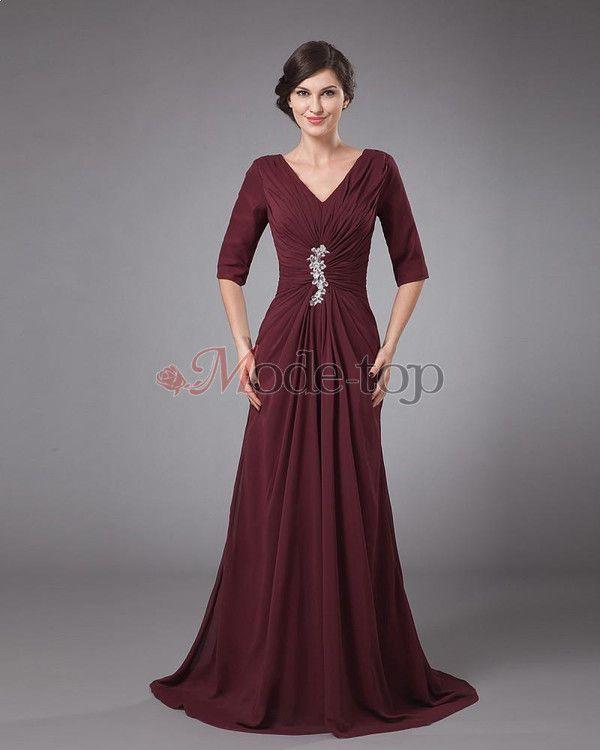 Gerüschtes natürliche Taile Chiffon Brautmutterkleid/ Abendkleid ...
