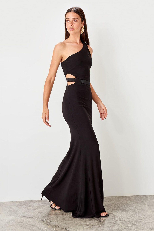 Trendyolmilla Tek Omuzlu Siyah Uzun Abiye Elbise Elbisebul The Dress Aksamustu Giysileri Siyah Abiye
