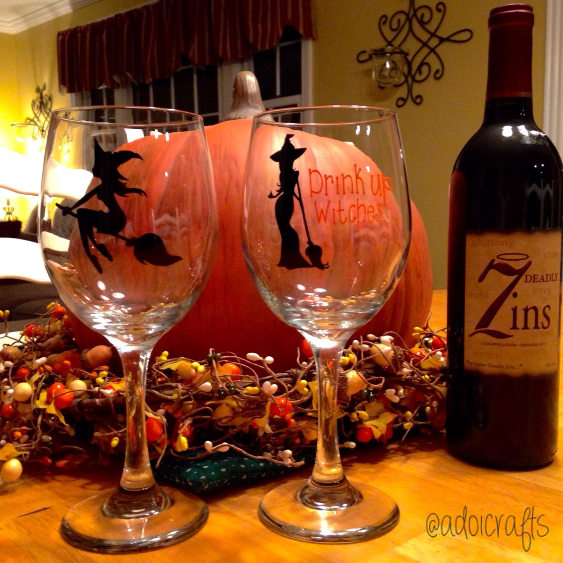 Drink Up Witches Halloween Witch Fall Pumpkin Wine Wineglass Drinkup Crafty Adoicrafts Wine Glass Wine Halloween