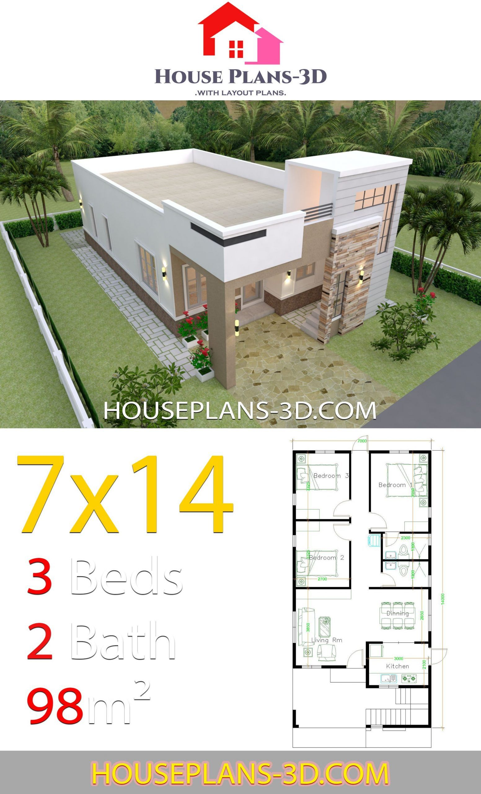 House Design 7x14 With 3 Bedrooms Terrace Roof House Plans 3d 7x14 Bedrooms Design House Plans Ro In 2020 Architectural House Plans House Plans Model House Plan