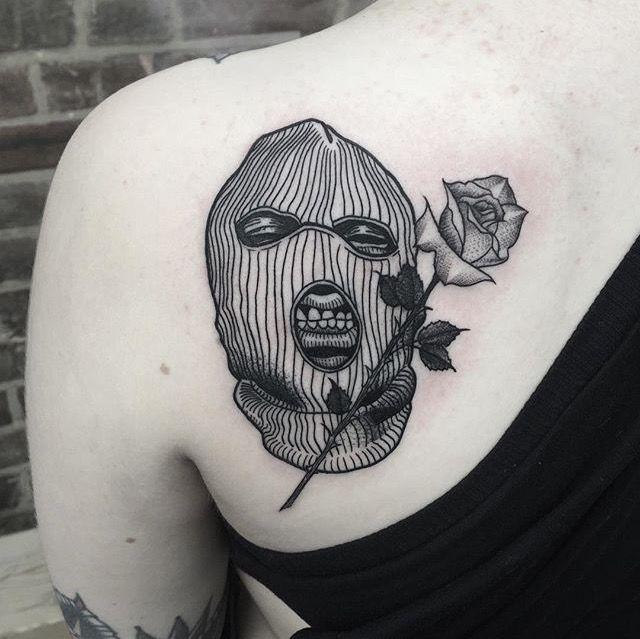 Small Money Bag Tattoo: TATTOO. SKI MASK.