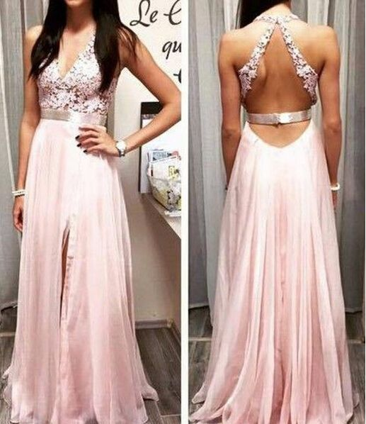 Long light pink lace prom dress