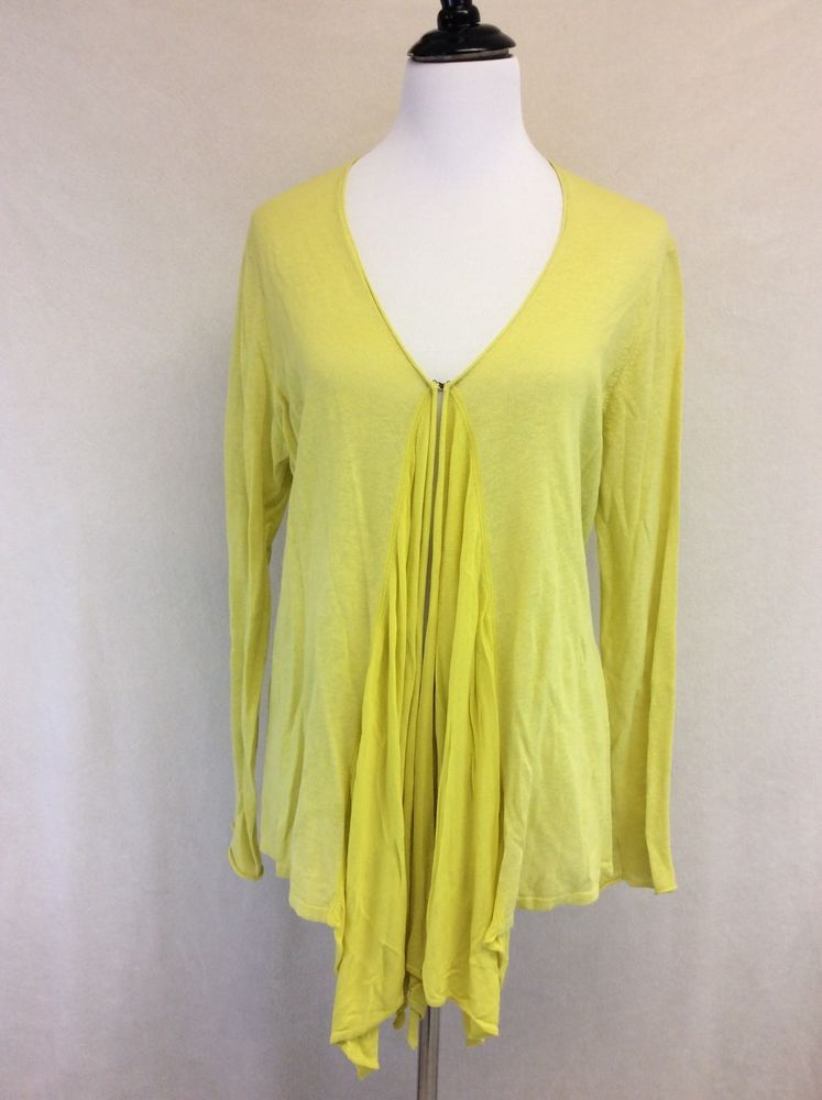 Anthropologie Guinevere L Large Yellow Waterfall Front Cardigan ...