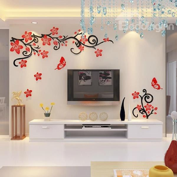 Fabulous Acrylic 3d Flowers And Vines Tv Wall Bedroom 3d Wall Stickers Beddinginn Com Tree Wall Murals Wall Stickers Living Room Living Room Wall