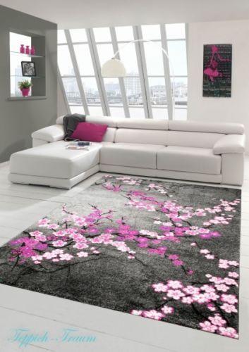 Moderner-Teppich-Kurzflor-Grau-Lila-Pink-Weiss-Traum-Teppich