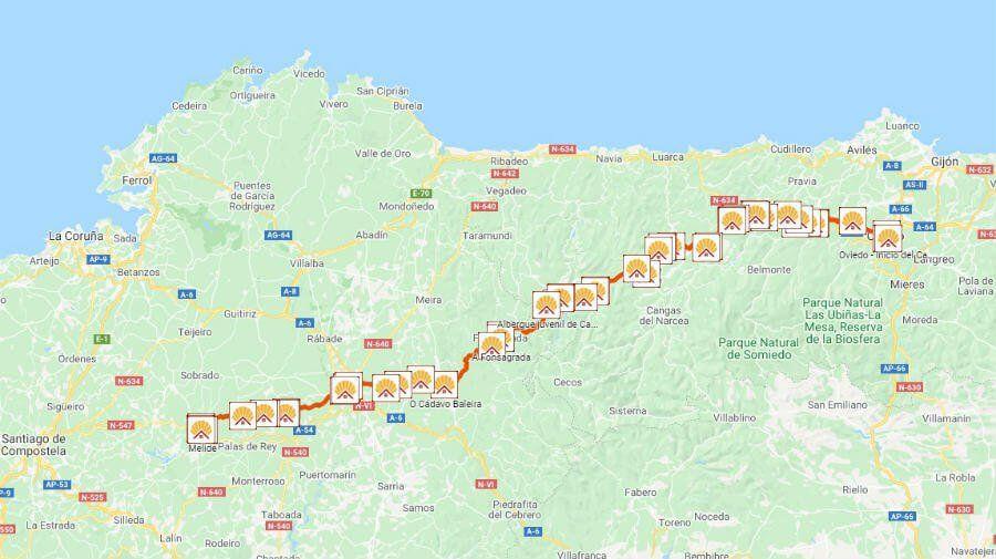 Distancias Albergues Y Otros Alojamientos Del Camino De Santiago Primitivo Haz Clic Para Ver El Mapa En Google Maps Enlace Desde El Cami In 2020 Map World Map Diagram