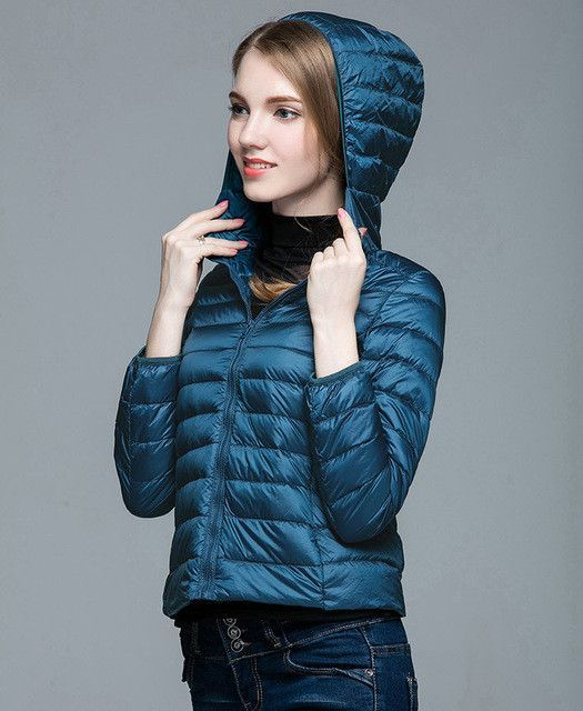 Buy Winter Fall Women Designer White Duck Down Jacket Woman Hooded ...