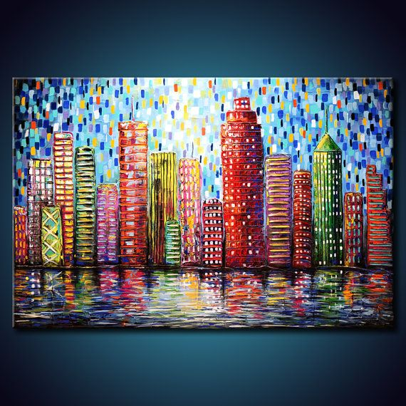 TEXTURED Urban City Buildings Painting. Abstract ORIGINAL 24x36 Canvas. Modern Colorful Fine Art by Federico Farias via Etsy