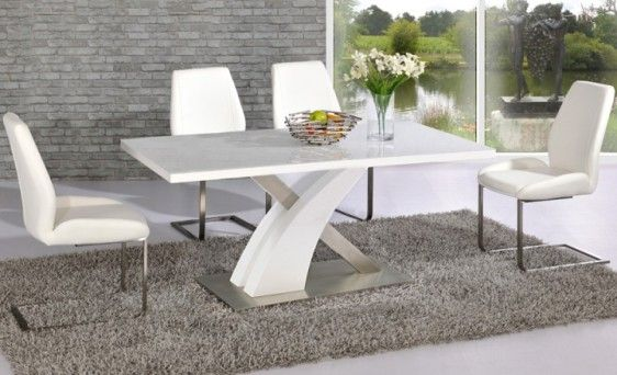 Avici Y Shaped High Gloss White And Chrome Dining Table 6 Chairs