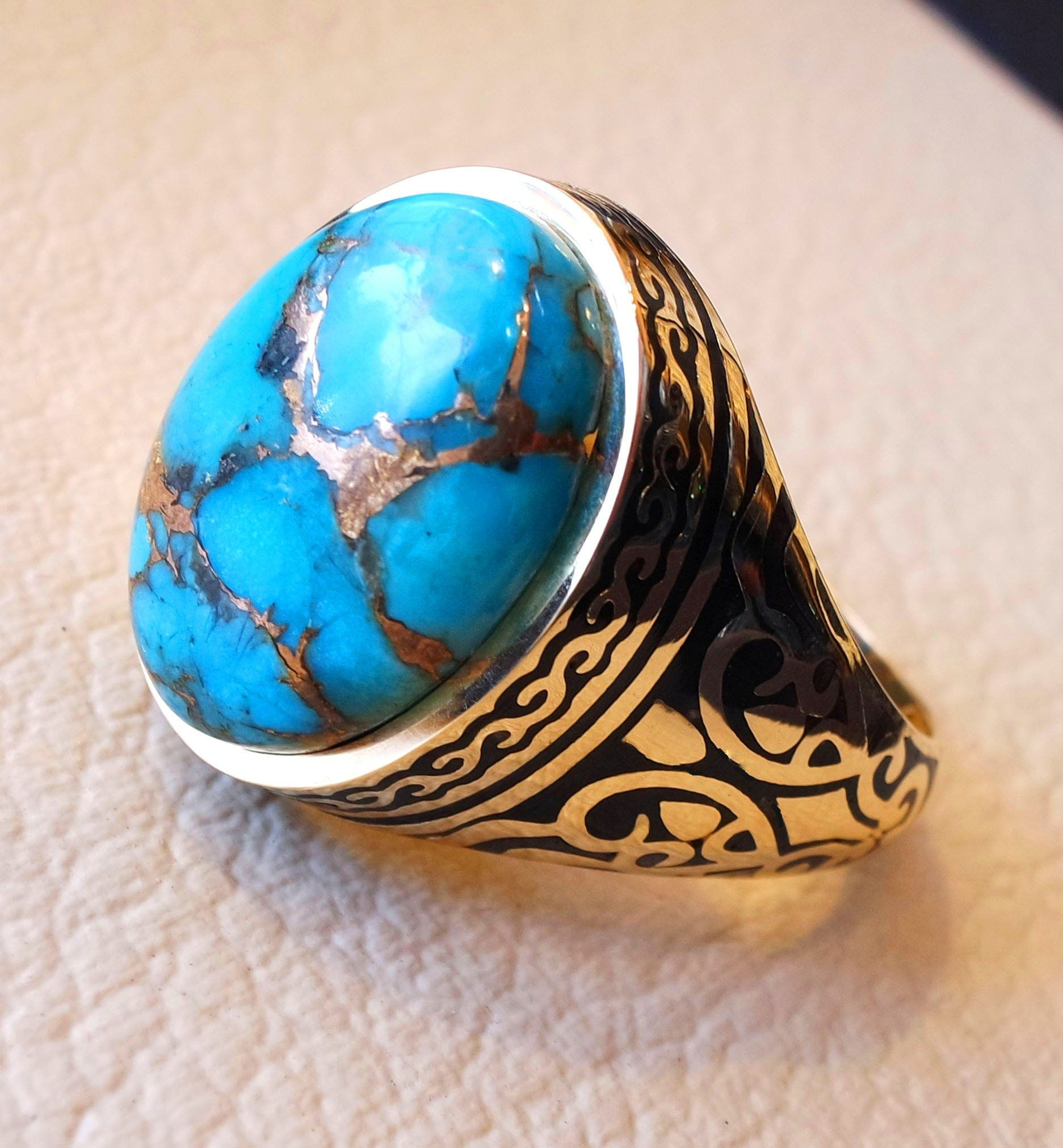 18k yellow gold men ring blue turquoise cabochon high