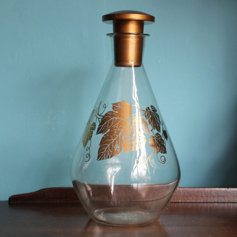jaj pyrex glass carafe bottle pitcher decanter with gold vine leaves 1950 1960 pyrex on kitchen decor pitchers carafes id=46404