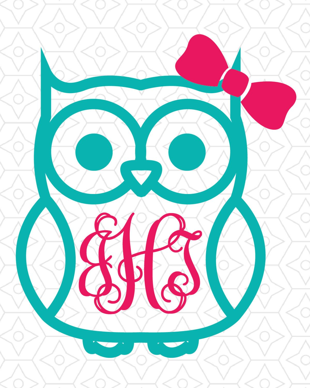 Owl with (or without) Bow Monogram Frame Decal Design, SVG