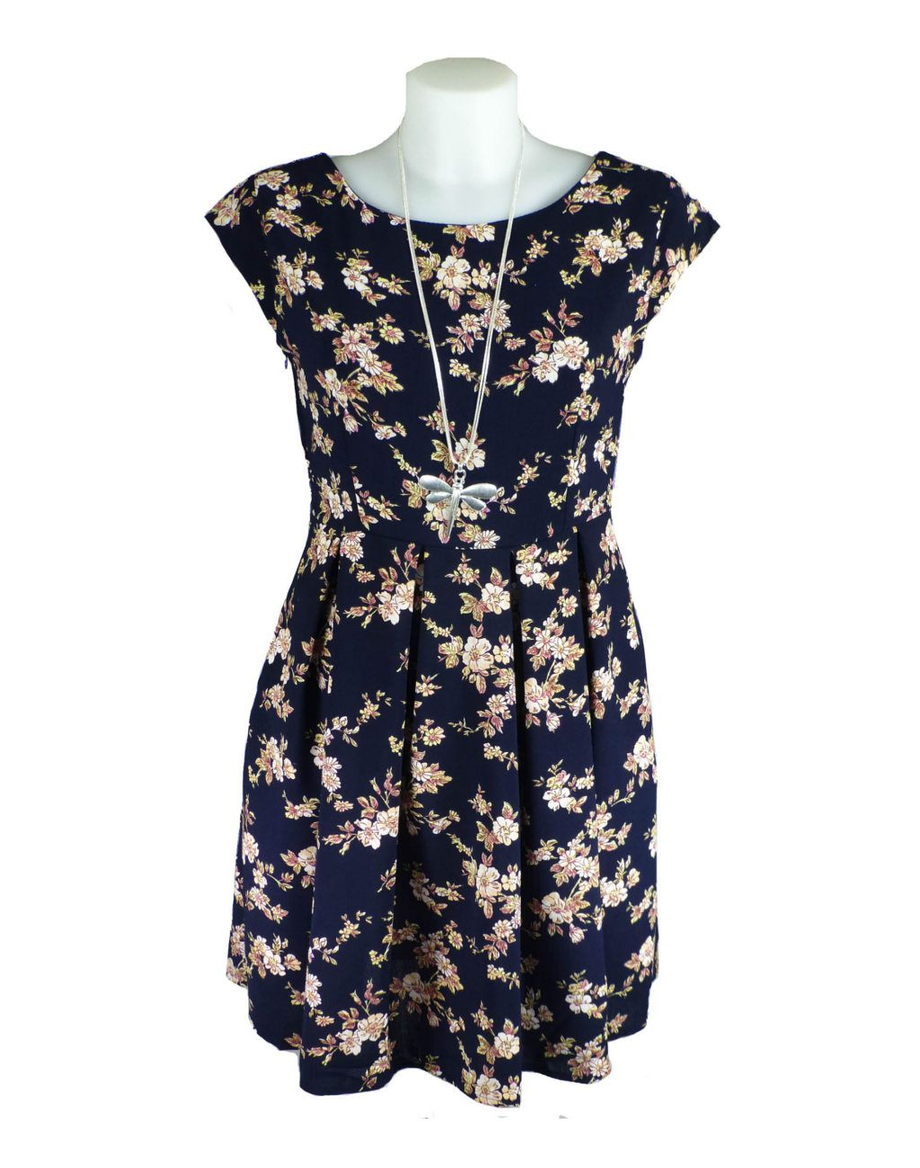 Pretty everyday outfit for summer or holidays- Shikha London Navy Floral Dress