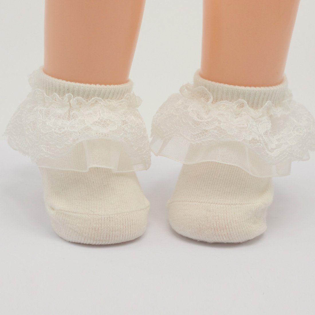 White ruffle Lace Socks White Christening baby Socks infant white 3-12 months babies socks Baptism Baby short Socks