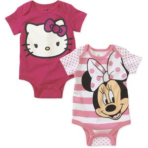 Newborn Girl Minnie Mouse and Hello Kitty Bodysuits, 2-Pack