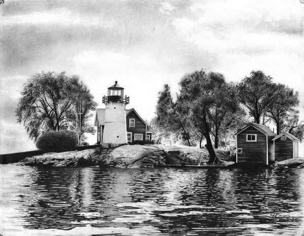 Pin By Carol Jones On Usa Lighthouses Landscape Drawings Landscape Pencil Drawings Cool Pencil Drawings
