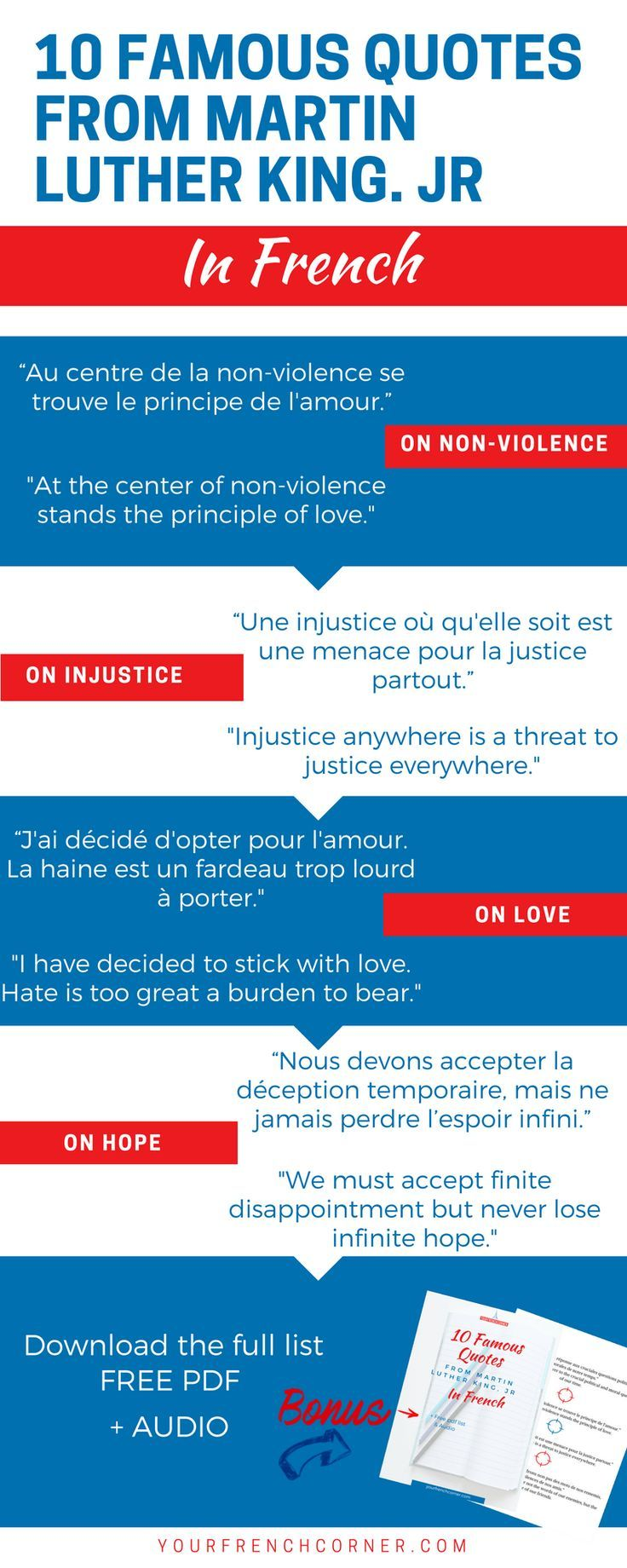10 Famous Quotes From Martin Luther King Jr In French Martin Luther King French Quotes Martin Luther King Jr