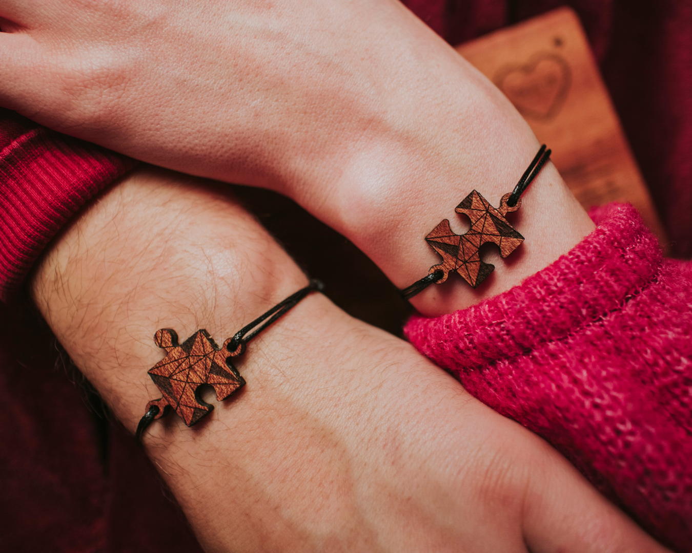 Drewniana Kartka Na Walentynki 2 Bransoletki Puzzle Leather Bracelet Bracelets Jewelry