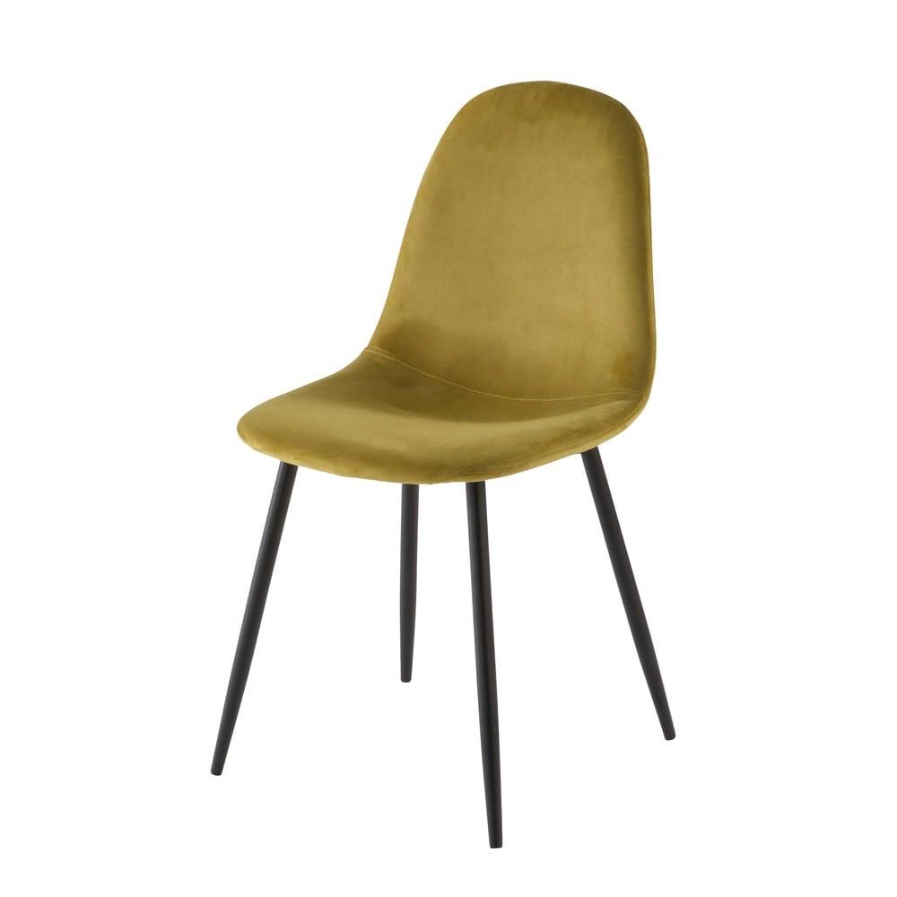 Sedia scandinava in velluto gialla | Sedie, Sedia design