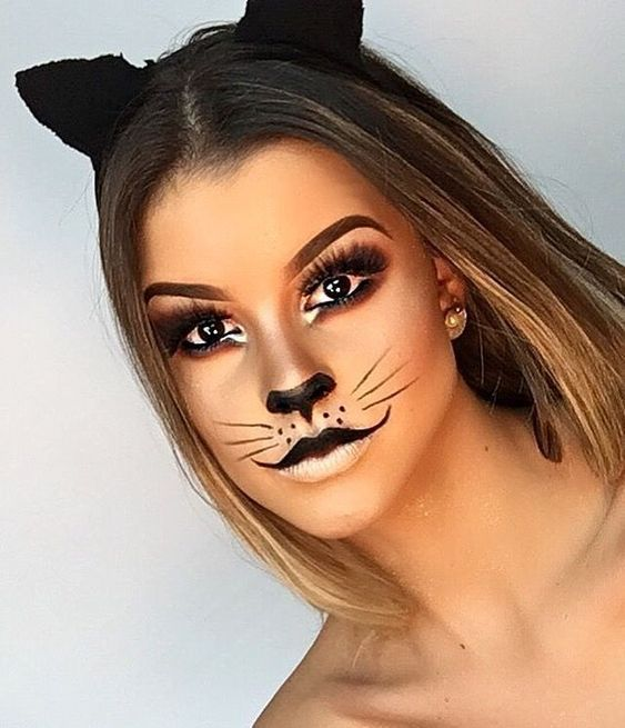 Photo of 50 pretty and unique makeup looks for Halloween; sweet makeup; simple makeup idea …