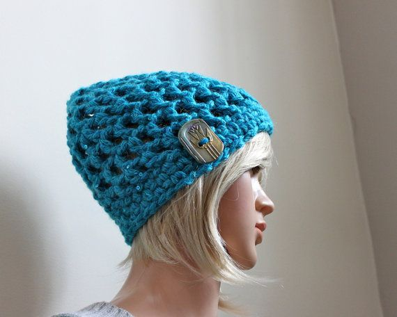 Peaky Beanie in Aqua Sparkle with Exclusive Handmade by Threadmill, $29.00