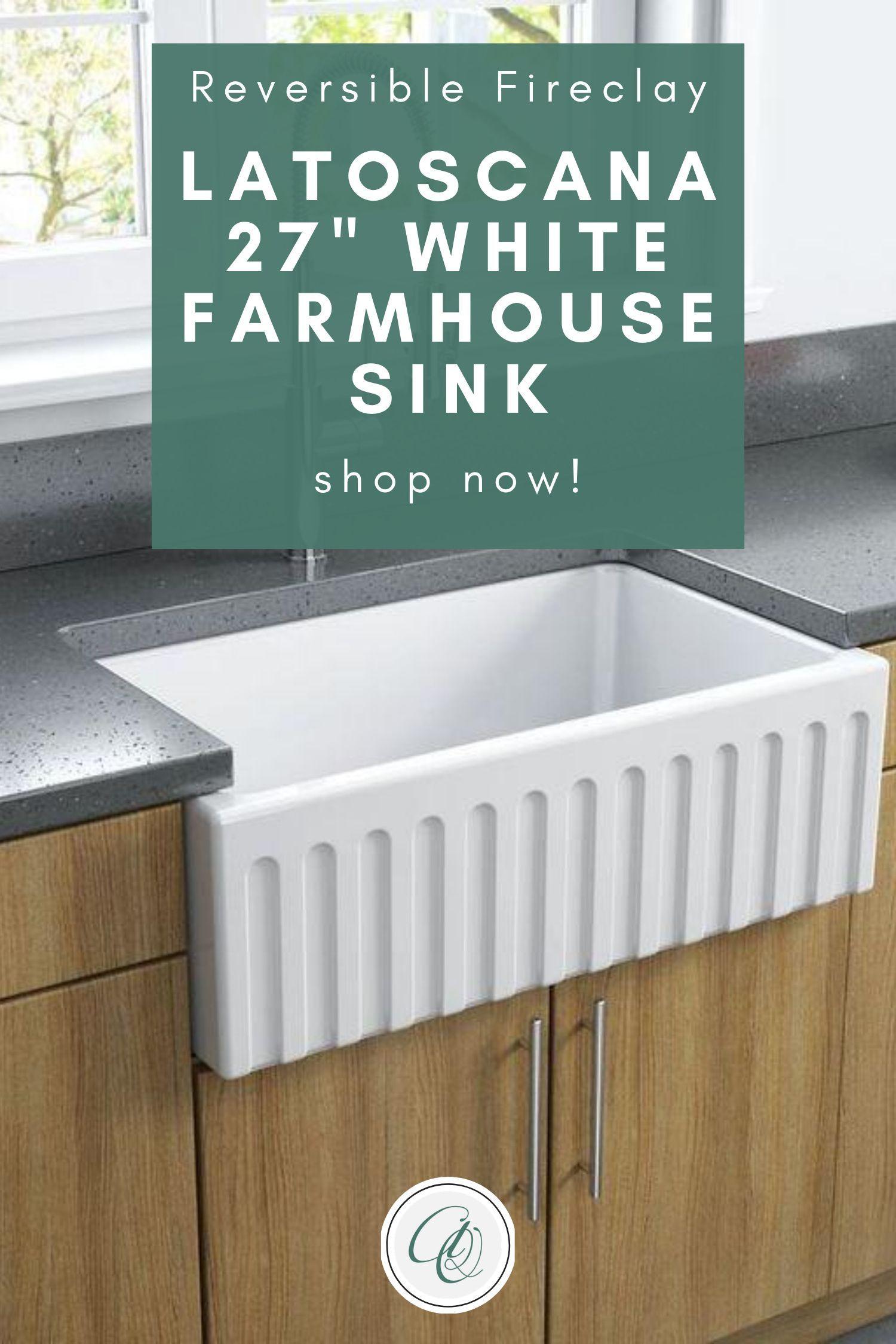 Latoscana Ltw2718w 27 White Fireclay Farmhouse Sink With Reversible Design In 2021 Fireclay Farmhouse Sink Farmhouse Sink Farmhouse Sink Installation