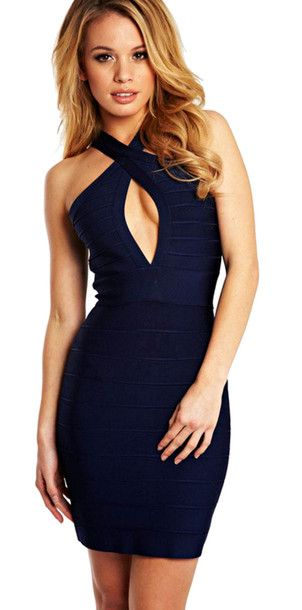 Find Out Where To Get The Dress Bodycon Dress Halter Neck And Navy