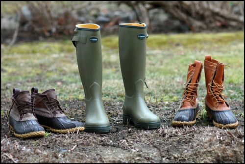 A family of rain boots.