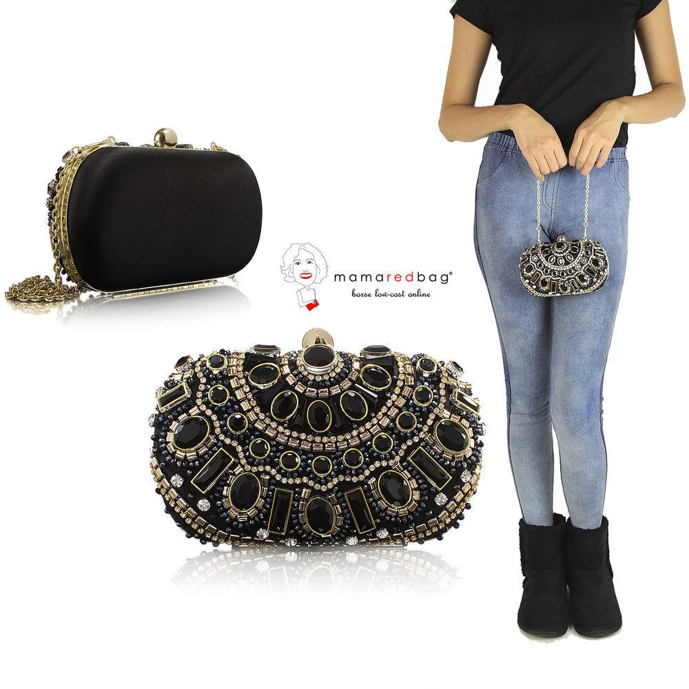 8c38051a26 Pochette Nera Rigida Donna Gioiello Borchie ALEX-MAX Studs Black Clutch  Women