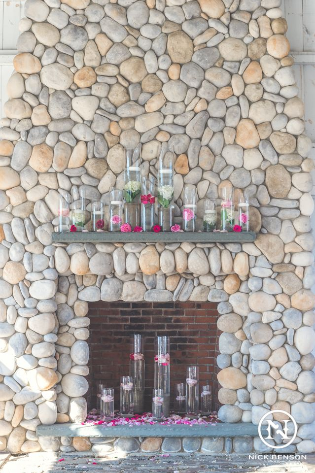 Rustic Stone Chimney and Fireplace with LBI Beach Theme Wedding ...
