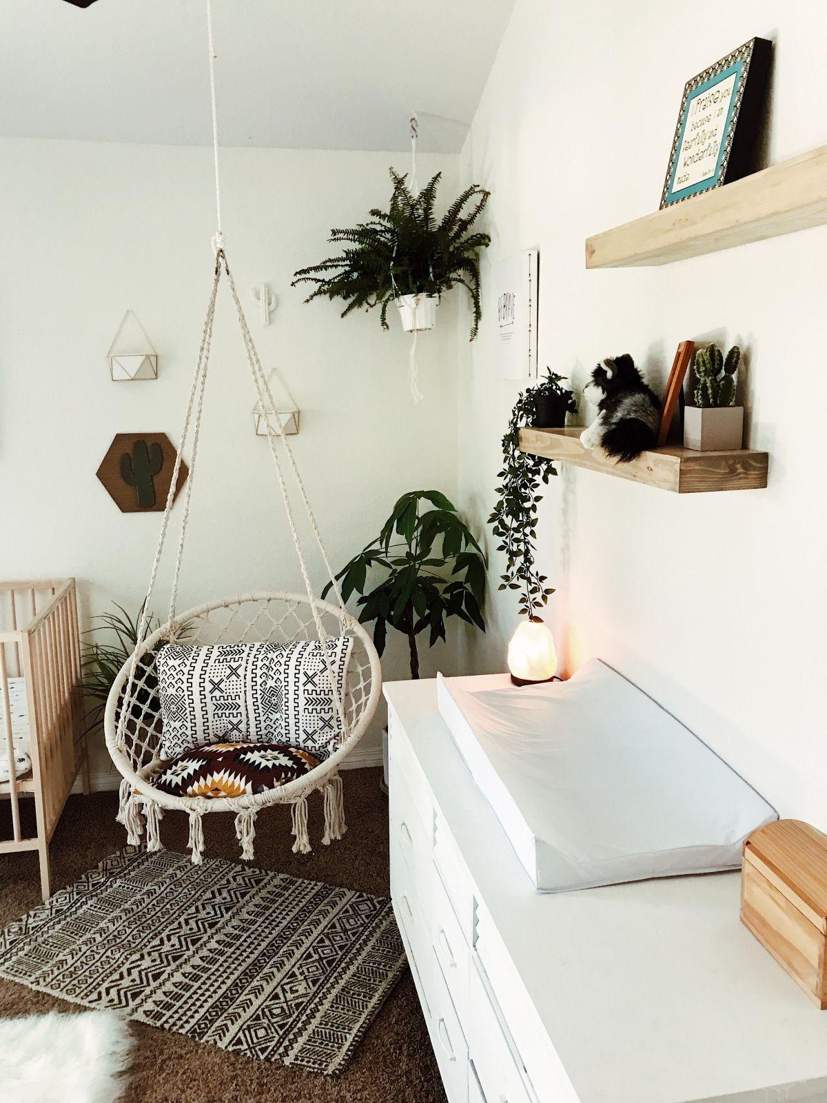 Boho minimalist white nursery macrame indoor swing girls room