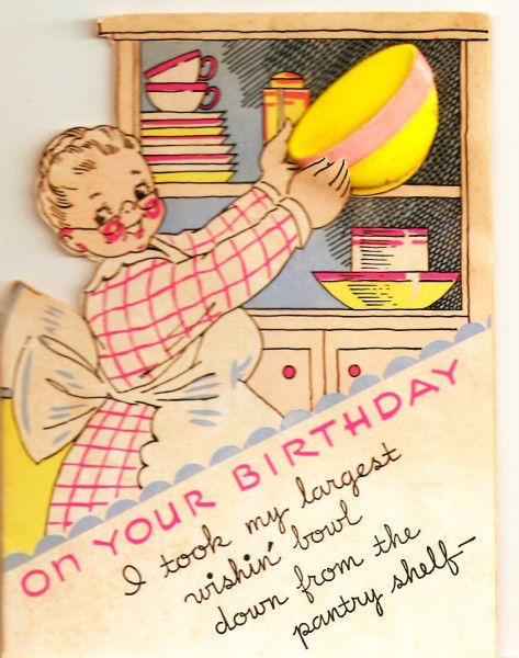 Vintage Birthday Card Grandma Mixing Bowl Birthday Cake Vintage