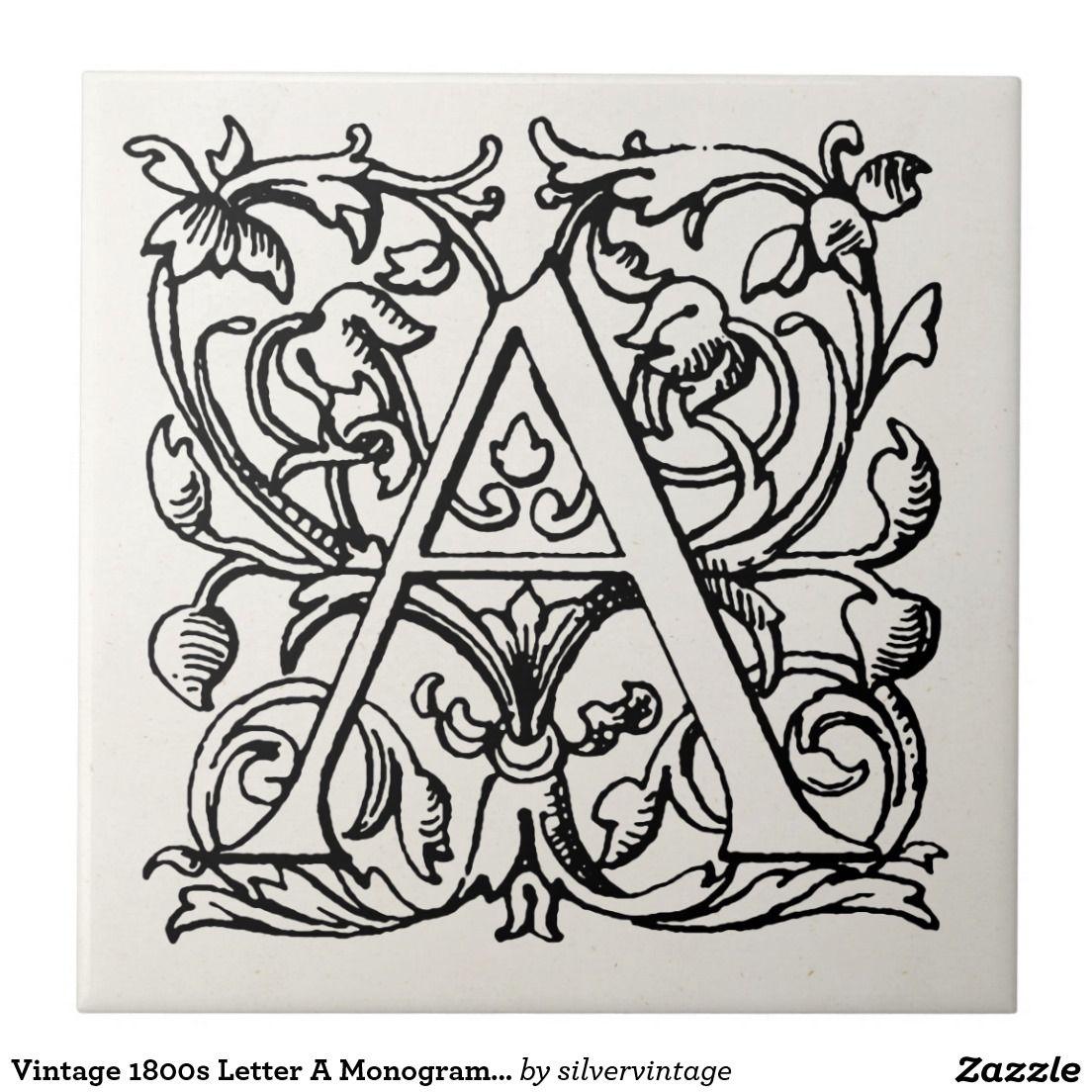 Vintage 1800s letter a monogram monogrammed a ceramic tile vintage 1800s letter a monogram monogrammed a ceramic tile doublecrazyfo Image collections