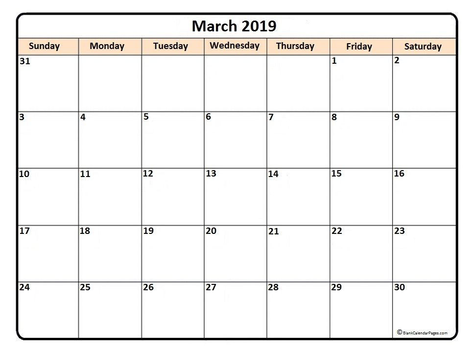 picture about Printable March Calendar Pdf identify March 2019 Printable Calendar Term Excel Template Down load